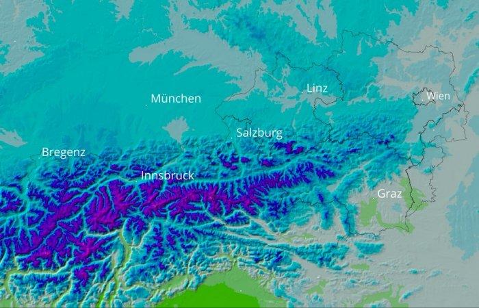 Horizontale und vertikale Interpolation der Lufttemperatur: Tageshöchstwerte 12.2.1999