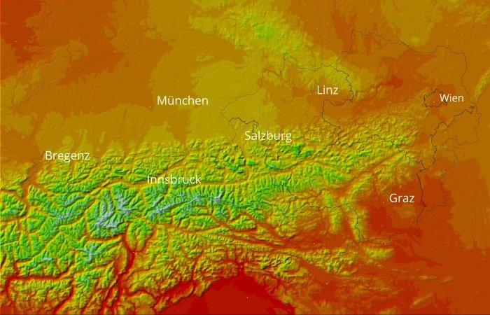 Horizontale und vertikale Interpolation der Lufttemperatur: Tageshöchstwerte 15.8.1999
