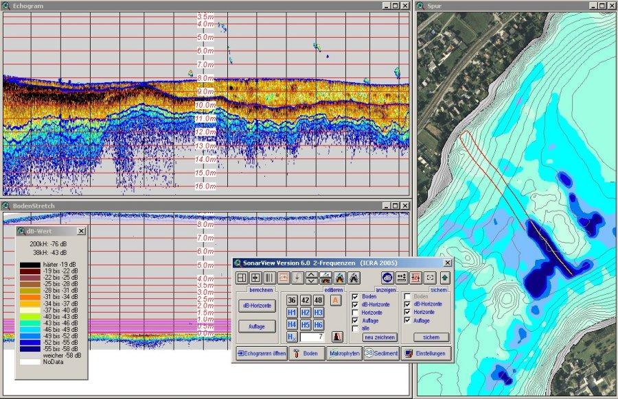 Sedimentschichten in der Applikation SonarView