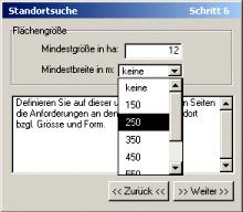 Auswahl von Flächenparameter (Mindestgröße, Mindestbreite)